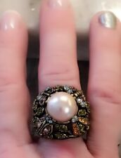 Heidi Daus Lg Simulated Pearl Multicolor Swarovski Cry-Accented Ring 6 Preowned