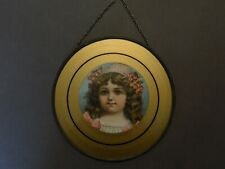 Antique Victorian Flue Cover Chromos Lithograph Tin Glass Girl Hat Flowers (I)