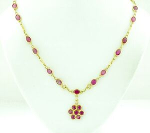 Pre owned 14k solid yellow gold natural Ruby necklace 9.00 ct 17 inches Lariat