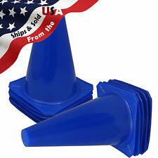 """(10) 9"""" Cones Football Training Pitch Marker Traffic Space Field Agility Blue"""
