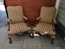 A Pair Of Fabric Queen Ann Armchairs