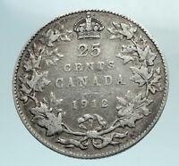 1912 CANADA UK King George V Genuine Original SILVER 25 CENTS Coin i79578