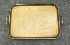 More details for large antique brass hammered tray, brass handles  62cm x 40.5cm