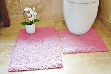 100 Cotton 2 Piece Tumble Twist Bath & Pedestal Toilet Mat Set - 11 X Colours Pink