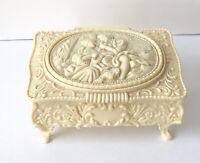 Vintage Victorian Scene Carved Beige Plastic Footed Jewelry Box Trinket