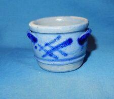 "Cobalt Blue Decorated Mini Stoneware Salt Glaze 1 3/4"" Handled Crock Miniature B"