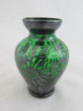 Kleine Blumenvase Glasvase Tischvase grün Silber Silver Overlay Blumen edel 840