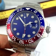 43mm PARNIS Blau dial Date Saphirglas GMT Automatisch Movement Uhr mens Watches