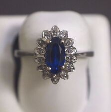 18 K White Gold Ring with Blue Gemstone Size 7
