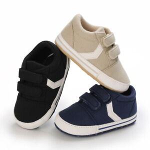 Newborn Baby Boy Canvas Pram Shoes Infant Kids Sports PreWalker Trainer 3 6 9 12
