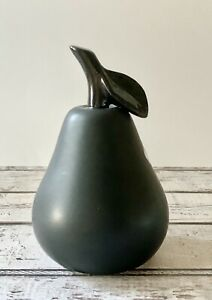 Black Matte Ceramic Poison Pear. Halloween Decor Pairs well with Rae Dunn Items