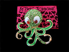 Betsey Johnson Animal Brooch Pin Gift Fashion Green Enamel Crystal Octopus Charm