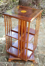 MID 20 c  MAHOGANY & BURL w/ MARQUETRY REVOLVING LIBRARY BOOKCASE BOOK STAND