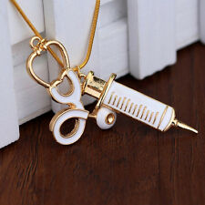 Alloy Medical Stethoscope Charm Syringe Pendant Necklace Chain Women Jewelry