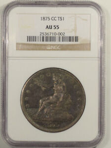 1875-CC TRADE DOLLAR - NGC AU-55, TOUGH CARSON CITY!