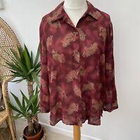 Vintage C&A Sheer Burgundy Shirt Blouse w/ Gold Paisley Pattern Sz 16 18