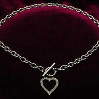 925 Sterling Silver Rolo Chain Necklace with Heart Charm & Toggle Fastener