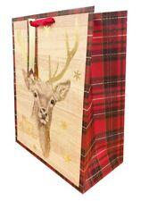 Regalo De Navidad Bolsa de gran Kraft Marrón De Colección cinta tradicional presente Wrap + Gratis