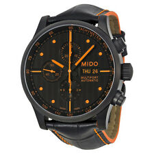 Mido Multifort Automatic Chronograph Black Dial Black Leather Mens Watch