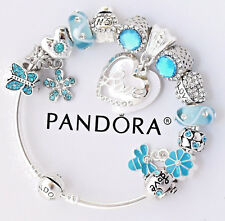 Authentic Pandora Bracelet Silver Aqua White Mom Wife European Charms NIB
