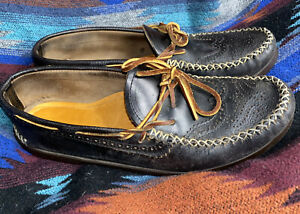 YUKETEN black brogue wingtip lace up moccasin loafers 12 D 12D