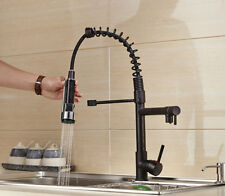 Oil Rubbed Bronze Pull Down Kitchen Faucet Deck Mounted Hot Cold Sink Mixer Tap