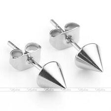 1 Pair Silvery Stainless Steel Spike Cone Ear Stud Earring Punk Cool Men Women