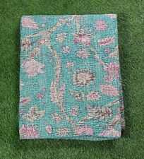 Kantha Quilt Single Size Bedsheet Handmade Stonewash Green 100% Cotton Bedcover