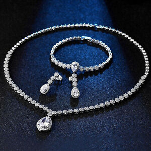 Beautiful White Gold Filled Water Drop Crystal Jewellery Set