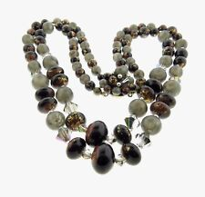"""Vintage Japan Faux Pearl Bead Necklace Double Strand Gray Brown 19"""""""