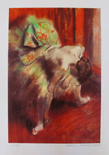 EDGAR DEGAS L'ATTENTE The Waiting Dancer Estate Signed Stamped & Numbered Giclee