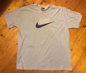 Mens Retro Vintage Nike  Blue T-shirt Top Size XL