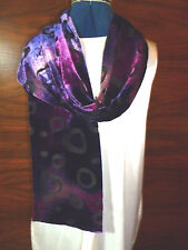 Velvet devore scarf Double thickness  Shades of purple and pink on black   NEW
