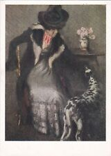 RARE Lady with dog Dalmatian old Soviet Russian Postcard by Igor Grabar