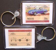 1970 PORSCHE 911 / 911S Targa Car Stamp Keyring (Auto 100 Automobile)