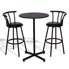 3Pcs Kitchen Bar Table Set with 2 Stools Pub Breakfast Bistro Furniture Black Us