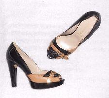 3d5f6f8c06ad67 SAN MARINA escarpins cuir bicolore noir & camel P 37 = 37 ½ TBE