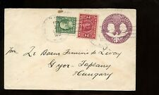 US TransAtlantic Stationary Cover 1912 Preston Hollow, NY to Gyor, Hungary B/S!