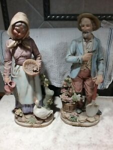 "VINTAGE HOMCO 13 1/2"" TALL OLD MAN AND WOMAN FARMER COUPLE FIGURINES #8816"