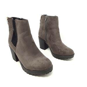 River Island Dark Beige Ankle Boots Block Heel Shoes UK 5 EU 38