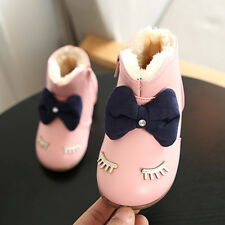 Kids Baby Girl Snow Boots Winter Warm Fur Lined Shoes Leather Soft Sneakers