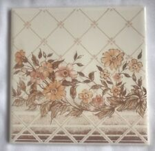 "Vintage H & R Johnson Ceramic Wall Tiles NOS 6""x6"" Floral Flowers England"