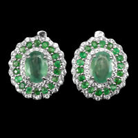 Unheated Oval Green Emerald 8x6mm White Topaz 925 Sterling Silver Earrings
