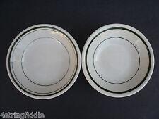 "2 Vintage Caribe China White & Green Stripes 4¾"" Bowl Restaurant Ware"
