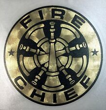 """Fire Chief  Custom Decal, on Sign Gold  4"""",  #FD136"""
