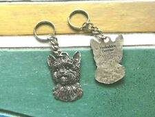 Purebred His & Hers or Friend 2 Yorkshire Terrier Pewter Key Chains All New.