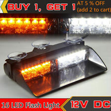 16LED Emergency Car Windshield Flash Strobe Warning Lights White/Amber Light 12V