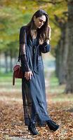 H&M Trend Long Chiffon Lace Ruffle Black Maxi Dress UK 6 8 10 EU 32 34 36 BNWT