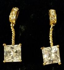 J15 Princess cut sim diamonds, 18ct gold gf drop dangle earrings, BOXED Plum UK