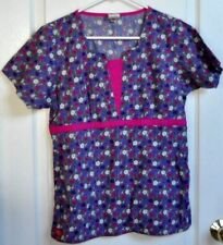 Dickies scrub top, womens, S, grey with purple, pink and white flowers